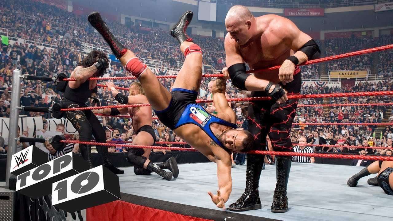 Kane eliminating Santino Marella from the 2009 Royal Rumble in record time, 1.9 seconds.