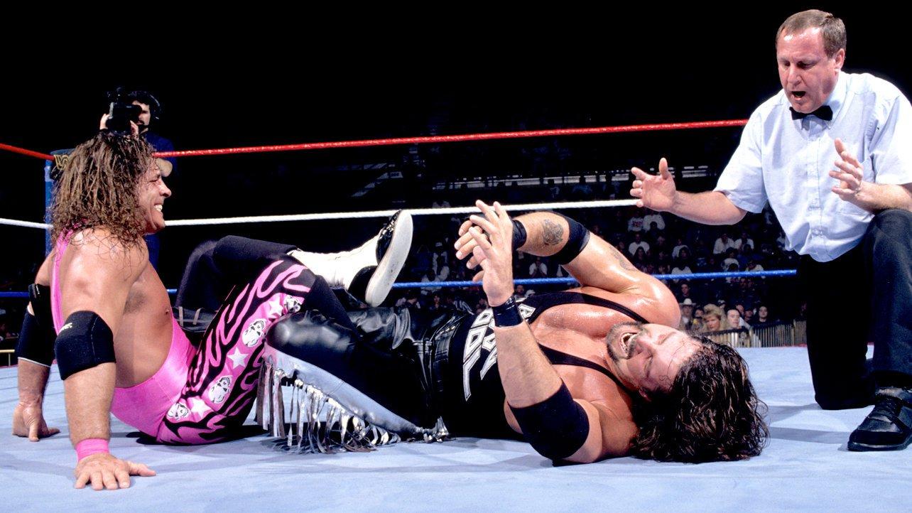 Bret Hart works the legs of Diesel at Survivor Series, November 19, 1995.