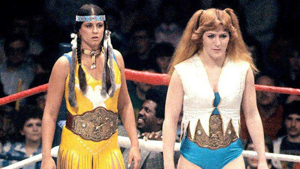 Princess Victoria and Velvet McIntyre, the first-ever WWF Women Tag Team Champions