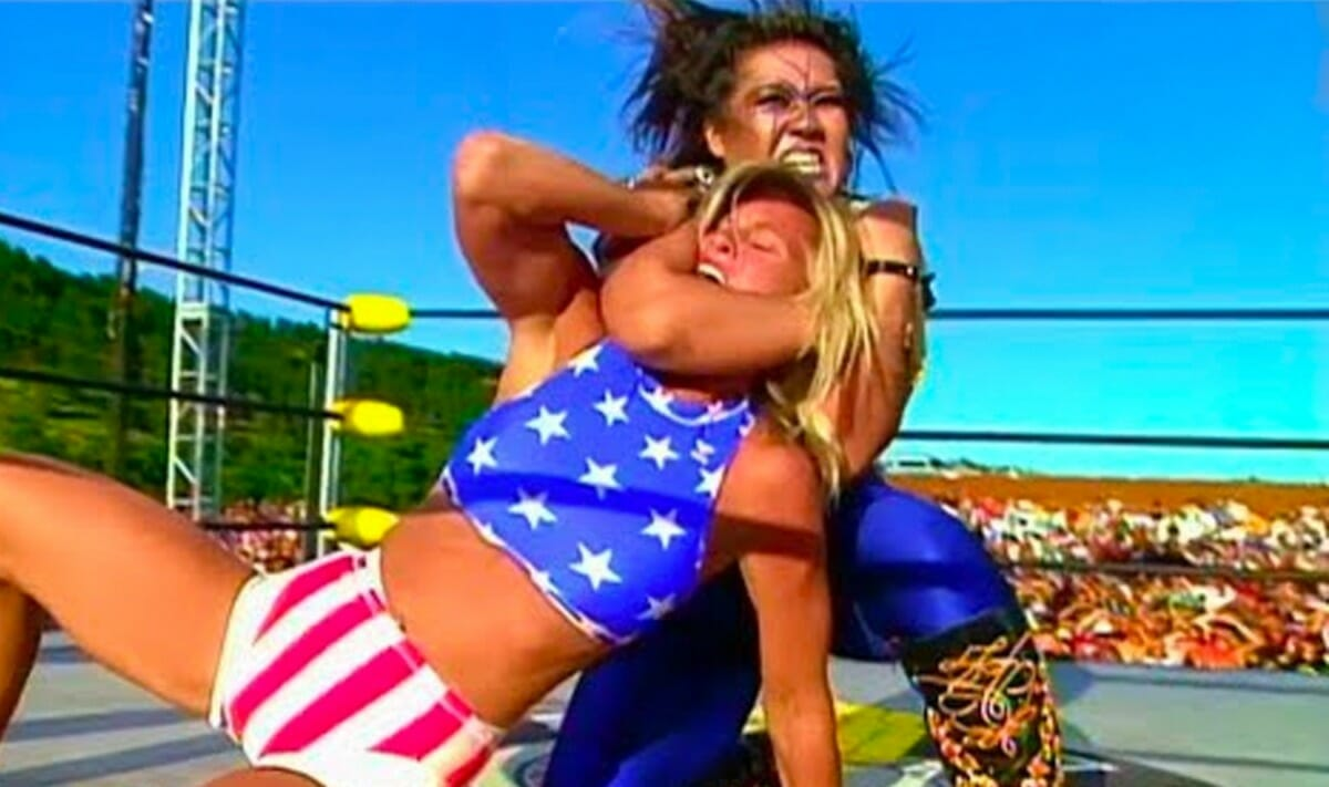 Madusa and Bull Nakano, an old feud reignited at WCW Hog Wild 1996.