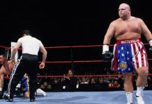 Things did not end well for ex-Smoking Gunn Bart Gunn when professional boxer Butterbean stepped in. WWE Brawl For All tournament, 1998.