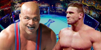 """The 1996 Olympic gold medallist and multi-time WWE and TNA world champion Kurt Angle versus """"The World's Most Dangerous Man"""" Ken Shamrock was discussed on several occasions, but unfortunately never came to fruition. Shamrock explains why. [design: JP Zarka / ProWrestlingStories.com]"""
