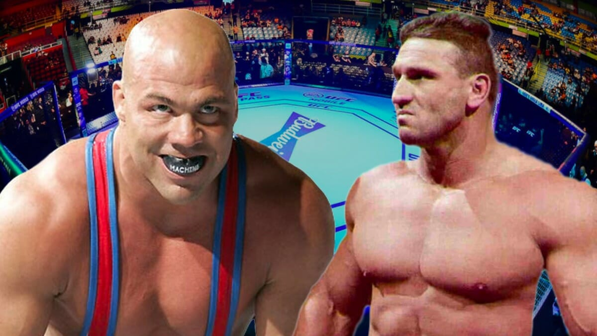The 1996 Olympic gold medallist and multi-time WWE and TNA world champion Kurt Angle versus 'The World's Most Dangerous Man' Ken Shamrock was discussed on several occasions, but unfortunately never came to fruition. Shamrock explains why. [design: JP Zarka / ProWrestlingStories.com]