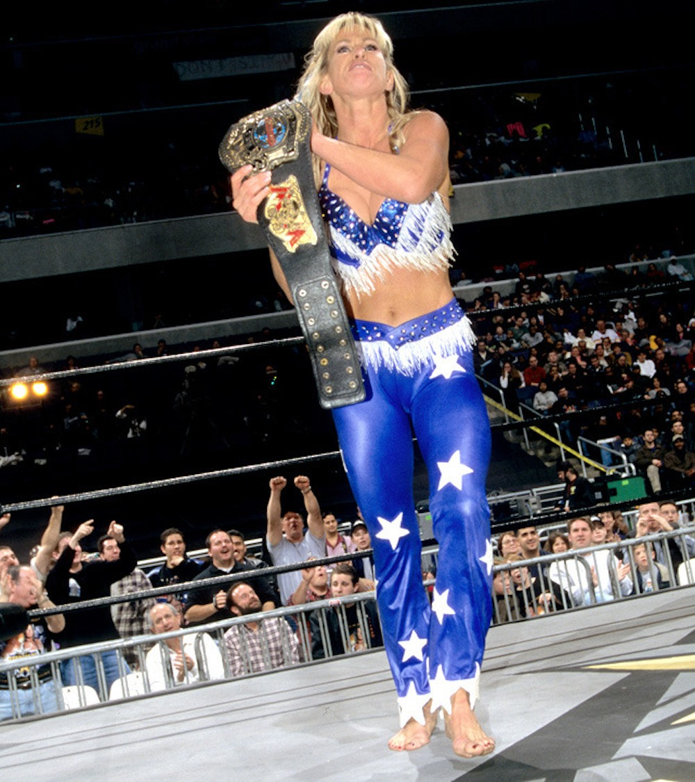 Madusa makes history by becoming the WCW Cruiserweight Champion at WCW Starrcade 1999. She was the first and only woman to hold a men's championship in WCW.