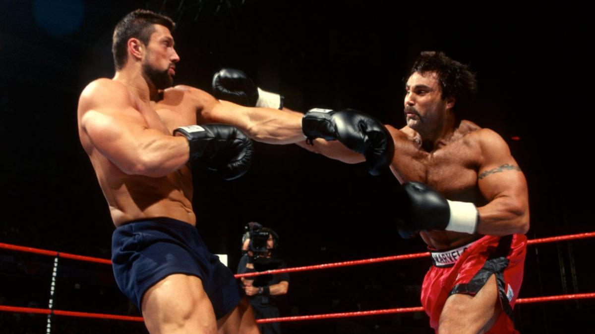 Steve Blackman and Marc Mero exchange blows during the WWE Brawl For All shootfighting tournament in 1998.