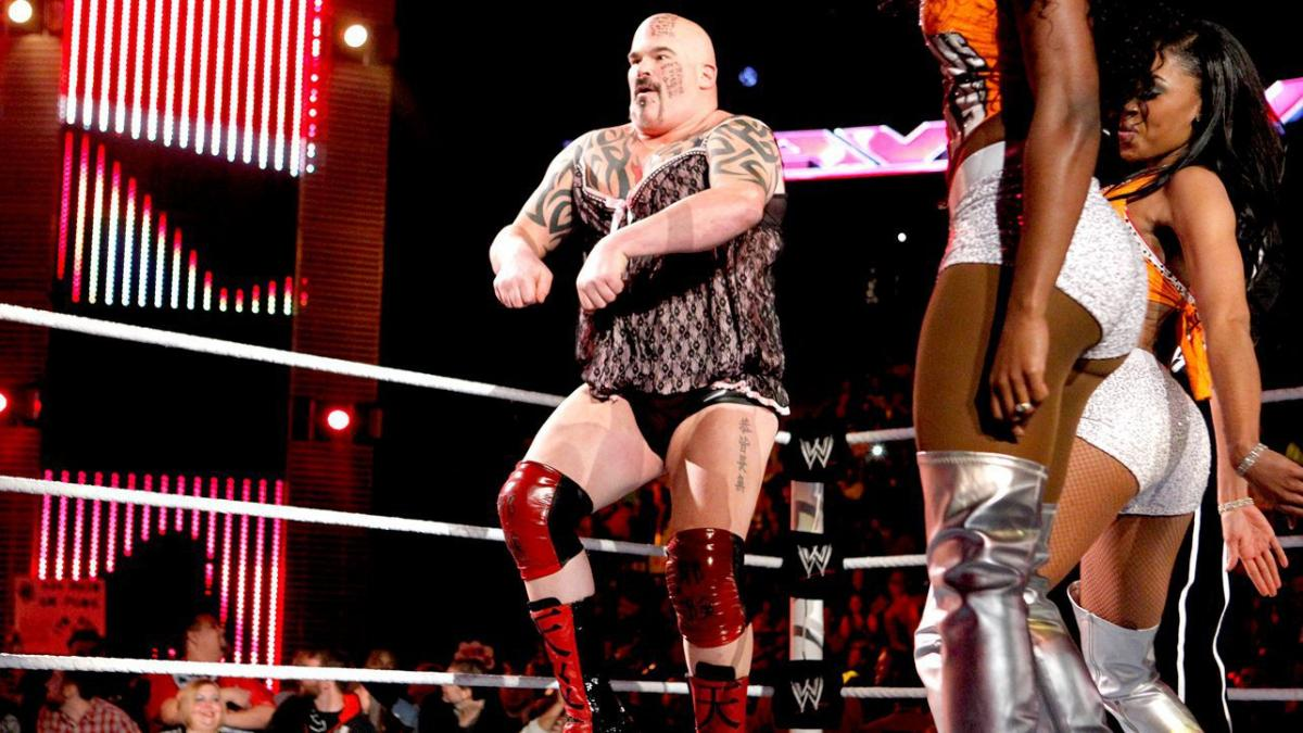Tensai has a dance-off with the Funkadactyls while wearing women's lingerie. Yes folks, wrestling is a serious form of entertainment!