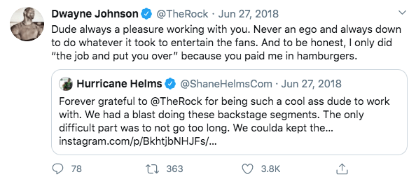The Rock and The Hurricane give credit where credit is due on Twitter.