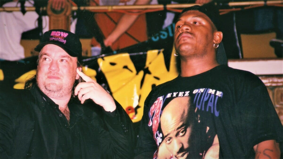 New Jack, here pictured with Paul Heyman, would excel in ECW as a solo competitor after partner Mustafa Saed left the company.