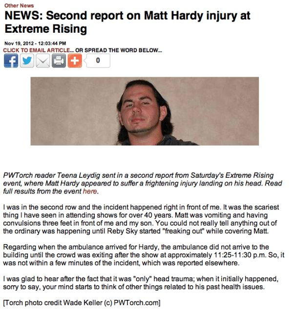 PWTorch's article detailing the Matt Hardy incident
