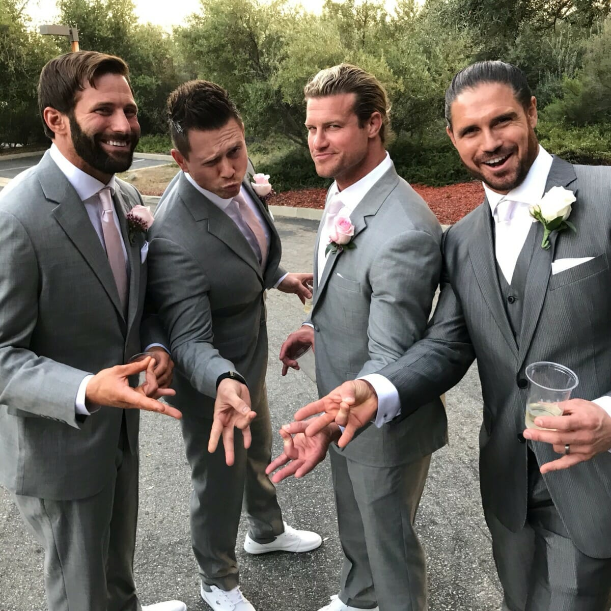 'The boys' - Matt Cardona (formerly known as Zack Ryder), The Miz, Dolph Ziggler, and John Morrison and Morrison's wedding.