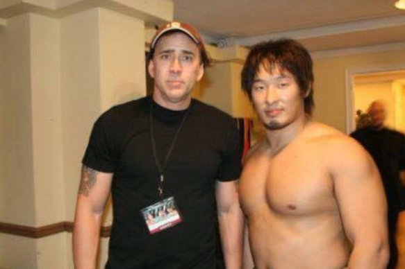 """Nicholas Cage and Marufuji Naomachi at Ring of Honor's Glory By Honor VI show, November 3rd, 2007. Although Cage was considered for the part of Randy """"The Ram"""" Robinson, Director Darren Aronofsky went with Mickey Rourke instead."""
