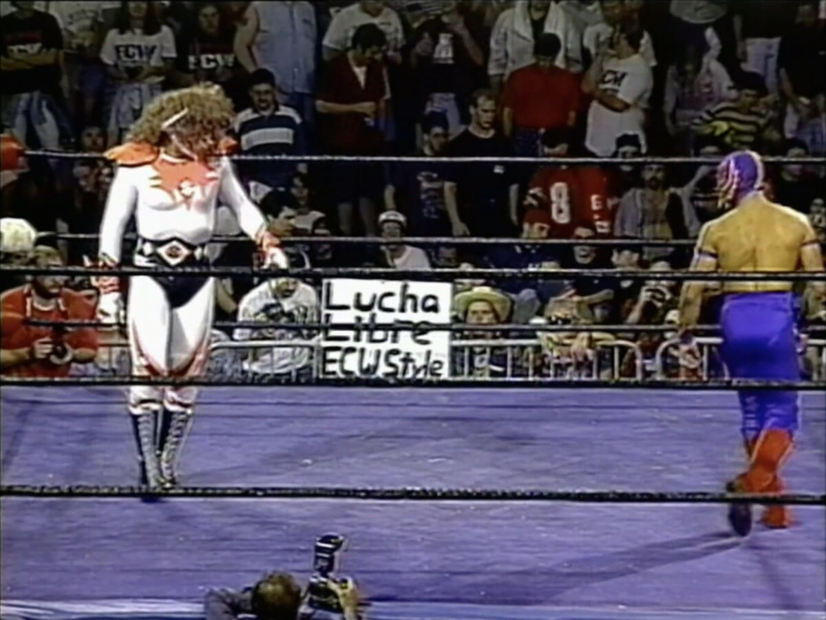 Rey Mysterio Jr. and Psicosis face off at ECW Gangsta's Paradise, September 16. 1995.