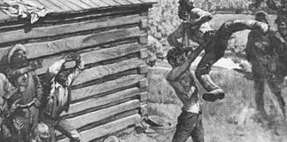 Abraham Lincoln preparing to send Jack Armstrong all the way to hell! Chokeslam!   The History of This Iconic Wrestling Move