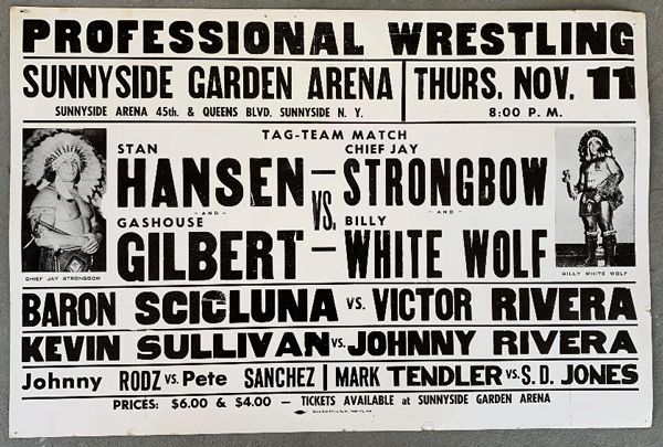 """A poster promoting an upcoming WWWF """"C Circuit"""" show at Sunnyside Garden Arena."""