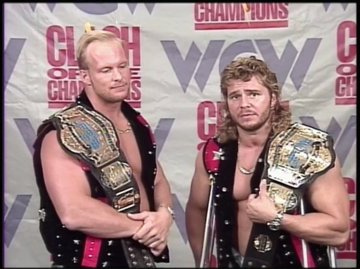 Brian Pillman, seen here on crutches with Steve Austin, before The Hollywood Blonds drop the belts at WCW Clash of the Champions XXIV.