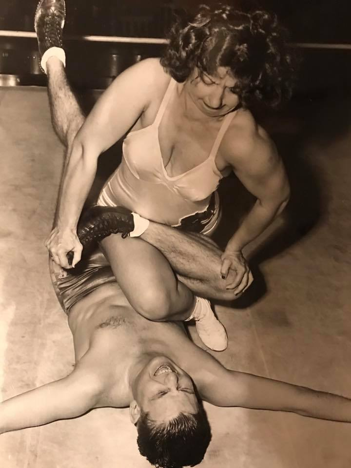 In this exhibition for a group of reporters in 1947, you can almost hear Billy Wolfe's son G. Bill's ankle snap under the power of Mildred Burke.