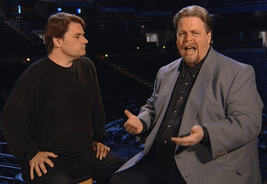 Tony Schiavone and Mark Madden on April 3rd, 2000's special edition of WCW Monday Nitro