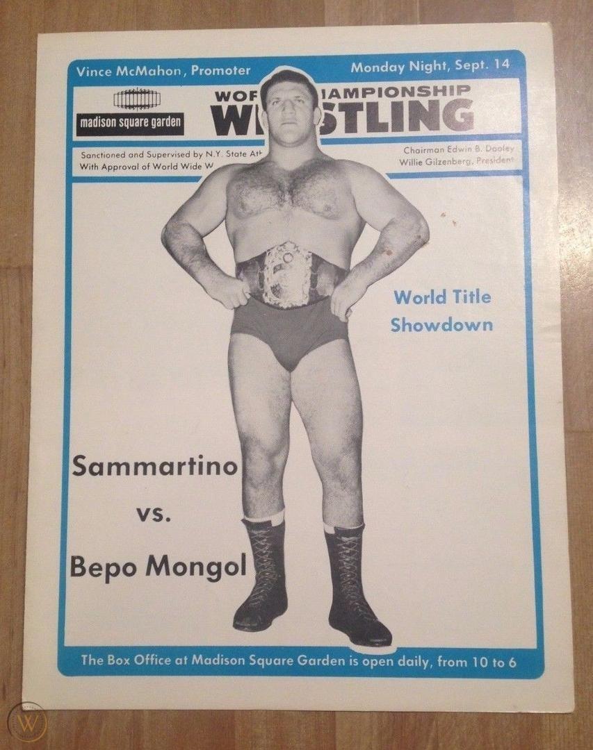"""World Title Showdown!"" A WWWF program hyping the matchup of Bruno Sammartino vs. Bepo Mongol at MSG."