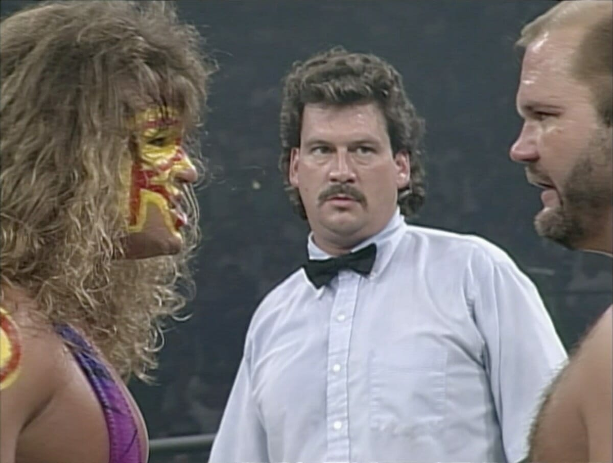 The Renegade and Arn Anderson face-off moments before their TV Championship match at WCW Great American Bash '95.