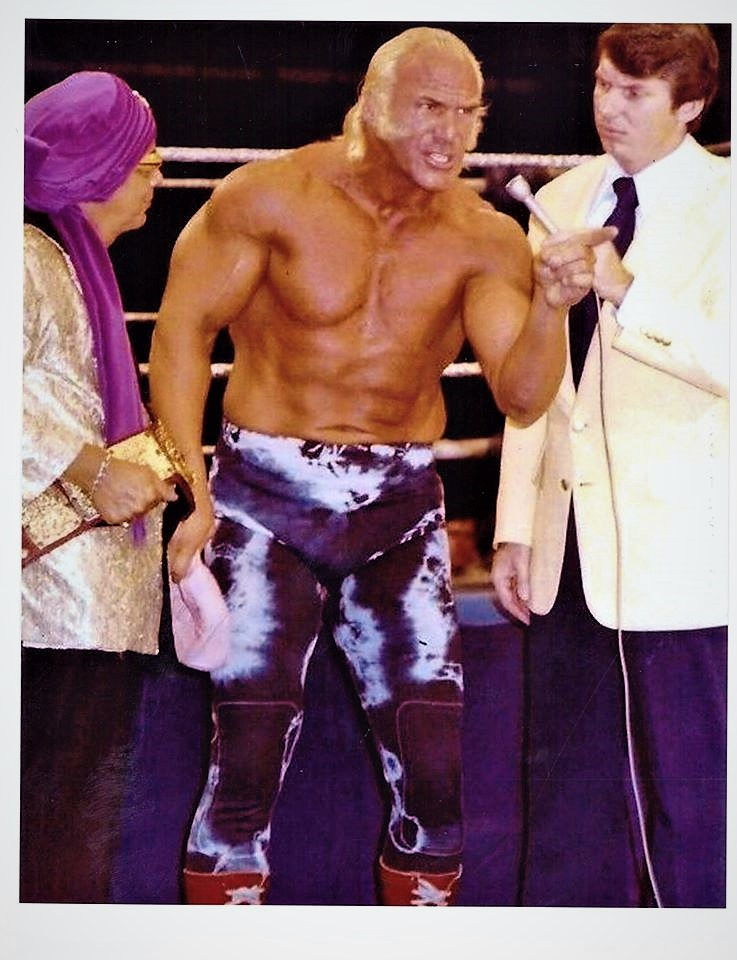 Superstar Graham introduced a new era of entertainment into wrestling. Here seen with The Grand Wizard of Wrestling and Vince McMahon Jr.