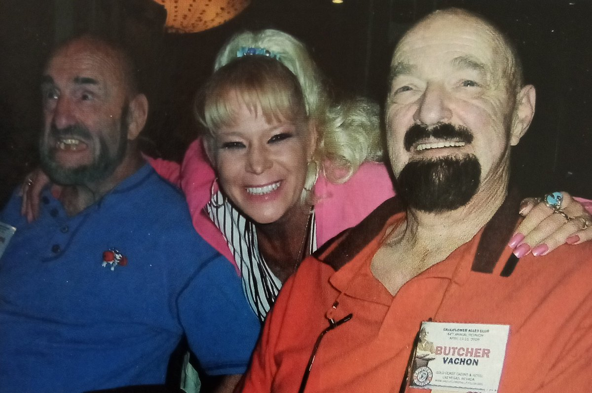 Luna Vachon with her uncle Mad Dog, and father Paul The Butcher Vachon.