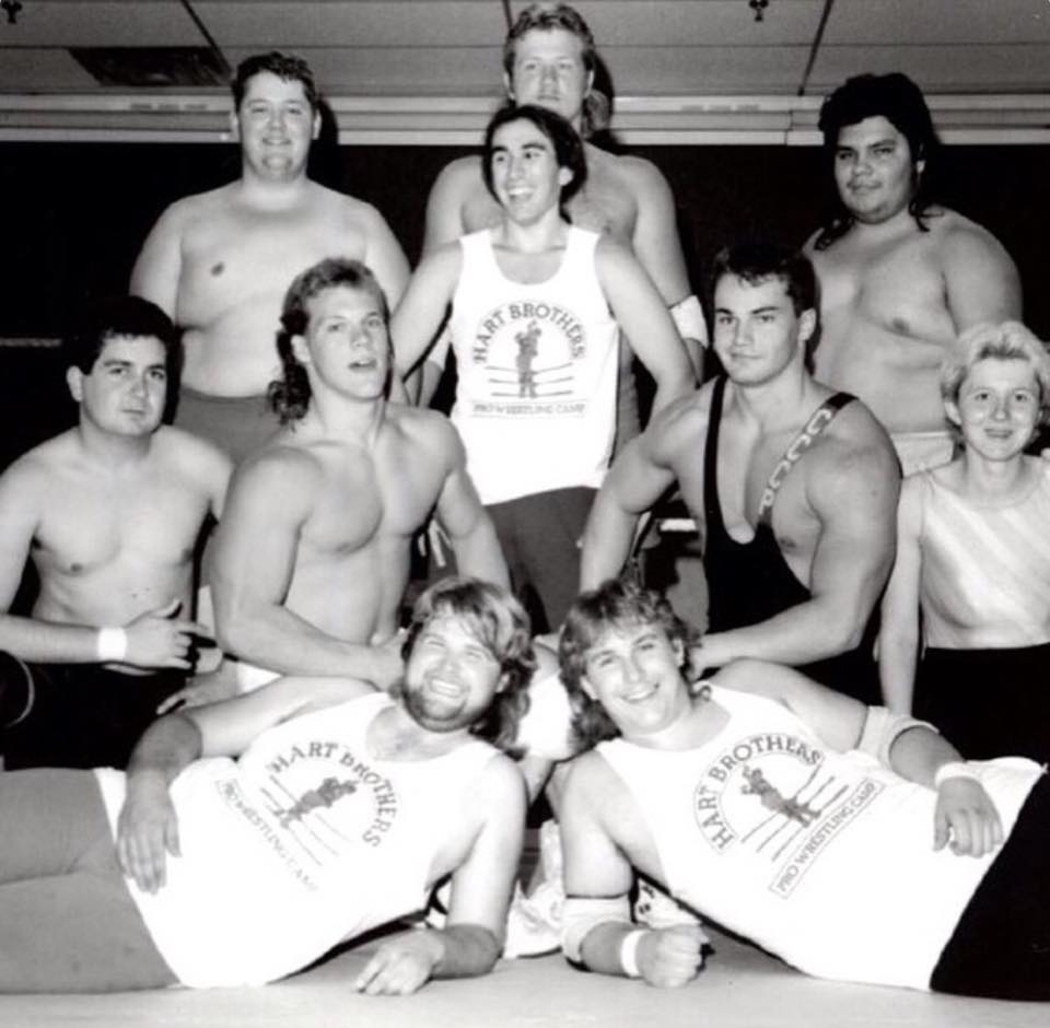Chris Jericho, Lance Storm, and other trainees at Hart Brothers Wrestling School in Calgary.