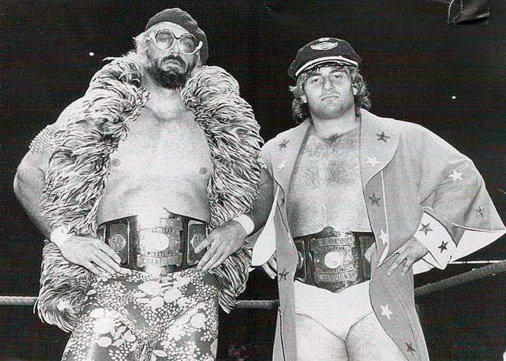 """The East-West Connection - Jesse """"The Body"""" Ventura and Adrian Adonis as AWA Tag Team Champions in 1980."""