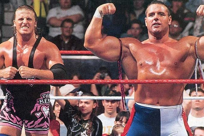 "Owen Hart and ""The British Bulldog"" Davey Boy Smith."