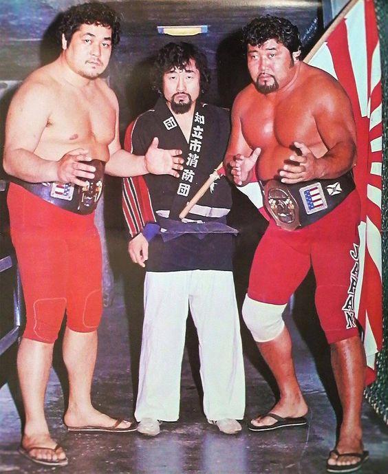 The Great Kabuki (unpainted) alongside Tiger Hattori and Mr. Saito.