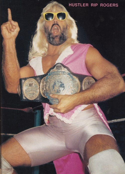 """""""Hustler"""" Rip Rogers with the WWC Championship."""
