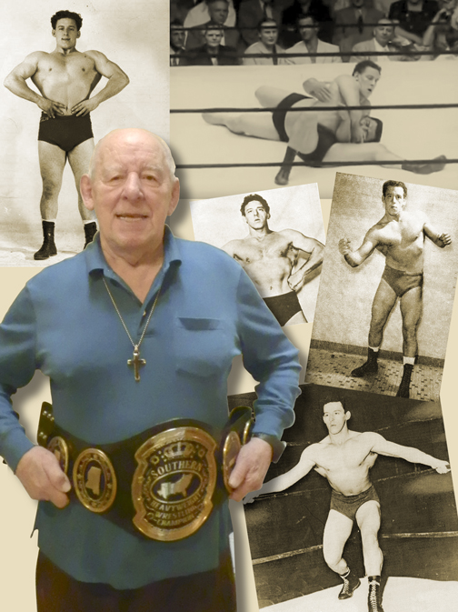 Len Rossi proudly displays the Southern Heavyweight Championship he won on multiple occasions.