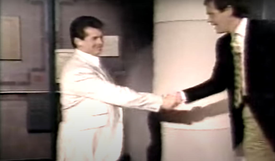 Vince McMahon is greeted by David Letterman while on his show in 1989. Everything seems to be going well thus far!