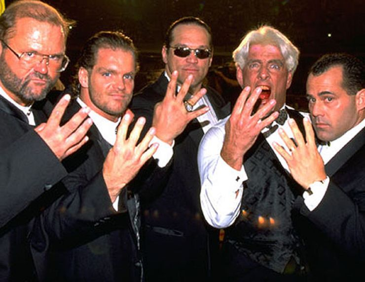 "The Four Horsemen: Arn Anderson, Ric Flair, Chris Benoit, Dean Malenko, and Steve ""Mongo"" McMichael."