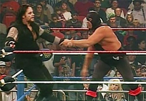 """Terry Gordy in his only WWE pay-per-view appearance against the Undertaker as """"The Executioner."""""""
