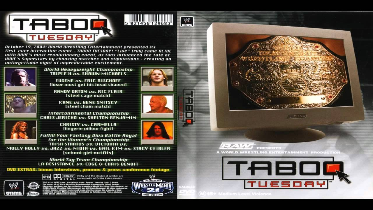 WWE Taboo Tuesday 2004 pay-per-view match card.