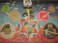Cuadro en el museo rasta de Shashemene, simbolizando que todas las religiones surgieron en Africa