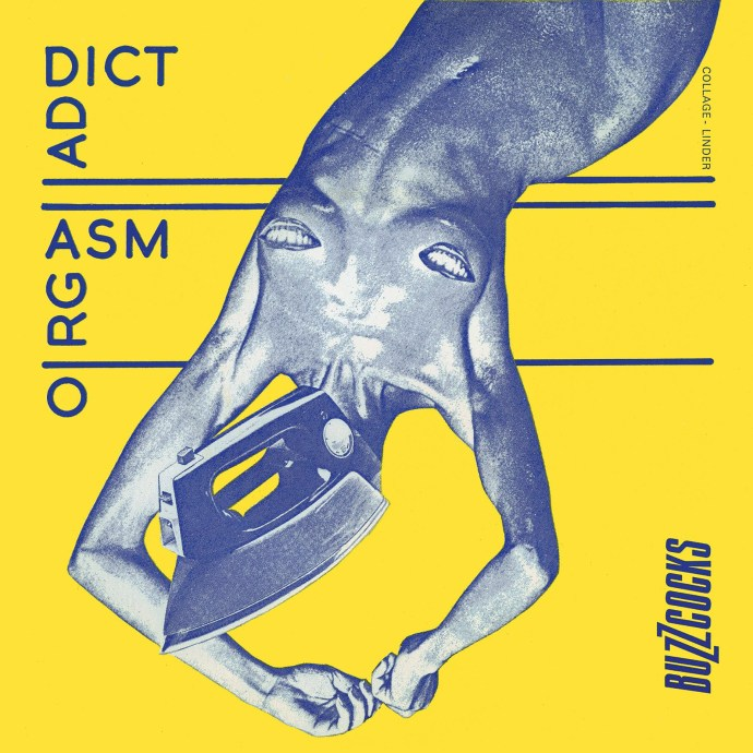 """Orgasm Addict"" by Buzzcocks, 1977, art by Linder Sterling, design by Martin Garrett."