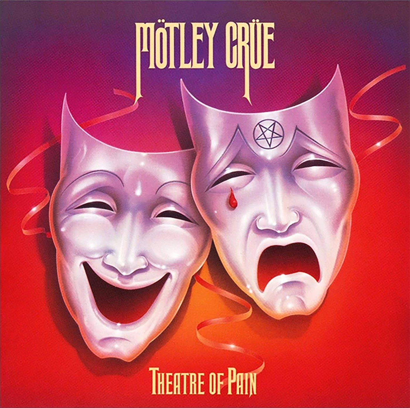 Theatre of Pain by Mötley Crüe, 1985, art direction by Bob Defrin and Nikki Sixx, and illustration by David Willardson.