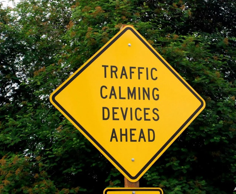 Traffic calming devices ahead