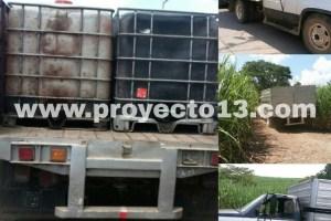 Aseguran camioneta con bidones cargados de hidrocaruro, en Omealca