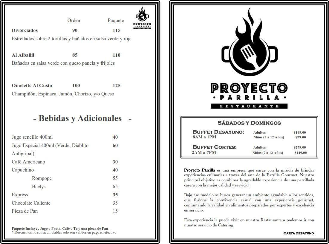 Menú Proyecto Parrilla Restaurante febrero 2019 2