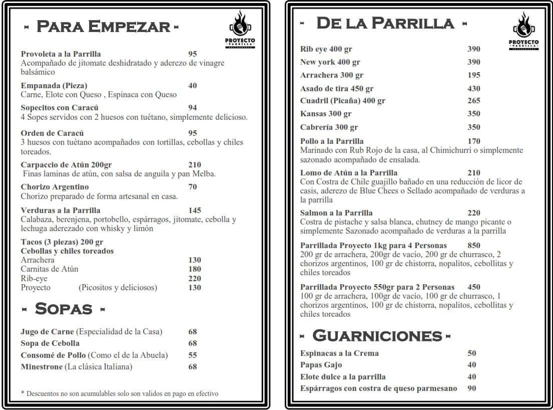 Menú Proyecto Parrilla Restaurante febrero 2019 3