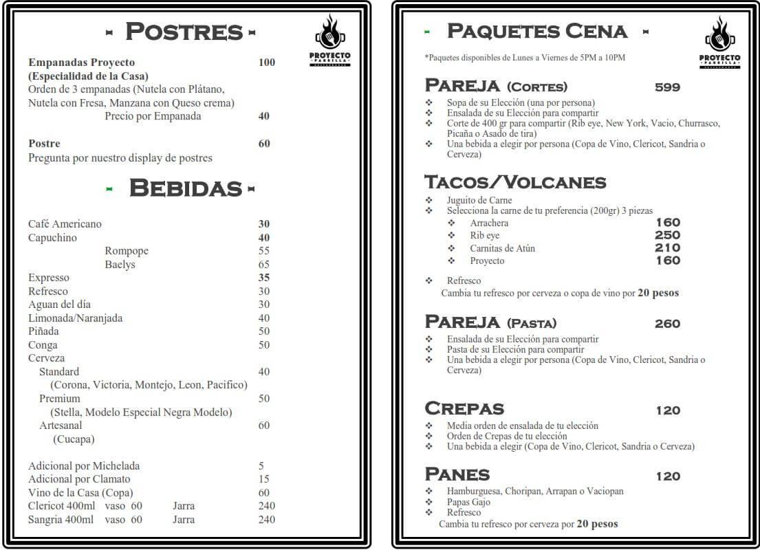 Menú Proyecto Parrilla Restaurante febrero 2019 5