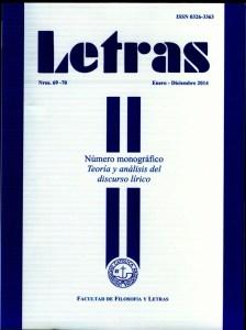 Portada revista Letras, UCA, 2014