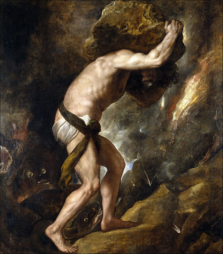 Castigo Sísifo. Tiziano, 1549