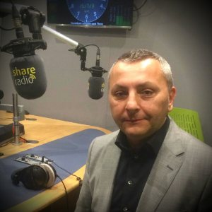 Cesare Garlati at Share Radio studios