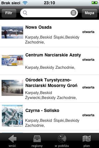 Widok z wyszukiwarki stoków szusujemy.pl na Twoim telefonie