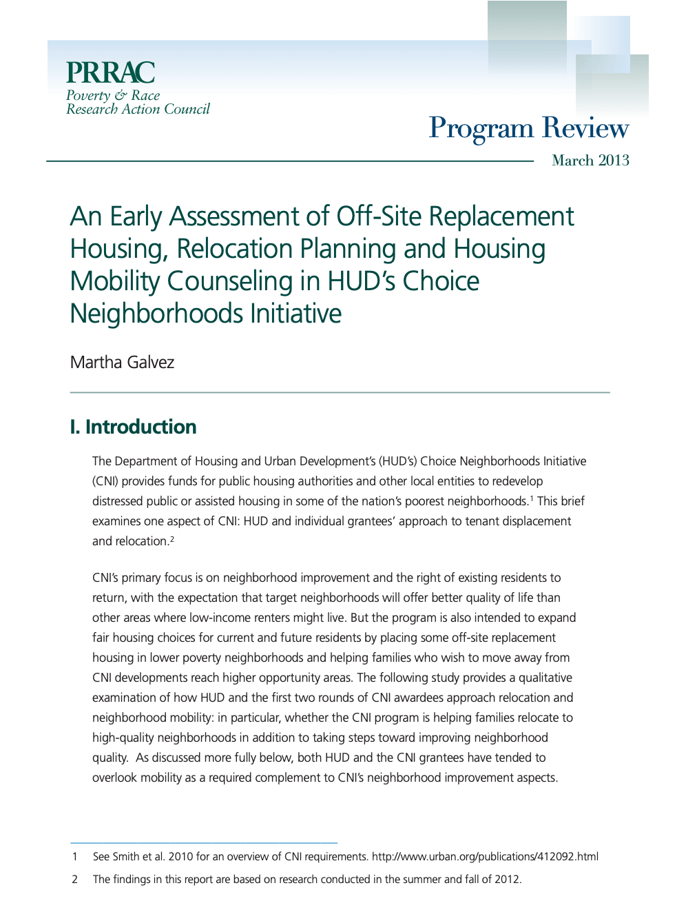 An Early Assessment of Off-Site Replacement Housing