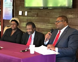 """PRRAC's """"Civil Rights Intersections: Celebrating 50 Years of the Fair Housing Act Symposium"""" in Selma, Alabama: PRRAC board member Damon Hewitt and civil rights activists Bruce and Betty Boynton."""