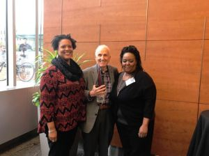 Award Ceremony. From left to right: Demetria McCain (ICP), Alexander Polikoff, and Catherine Johnson (Housing Choice Partners).